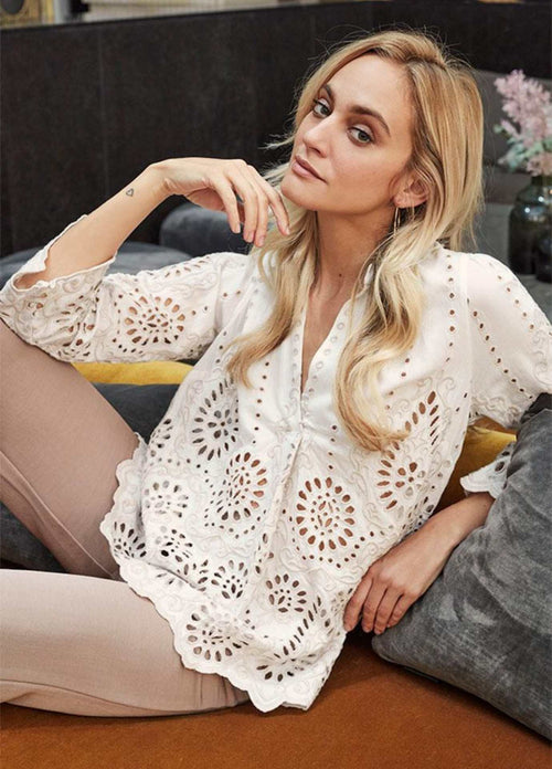 Gustav-40616-White-Broderie-Anglais-Womens-3-4-Sleeve-Everyday-Top