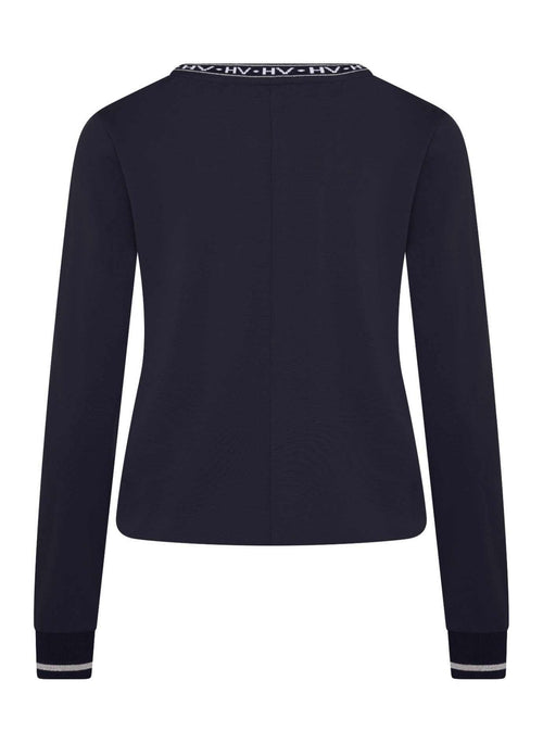 HV-Polo-0401103314-S001-SS21-Nuria-Navy-V-Neck-Long-Sleeve-Top-From-The-Back-Ribbon-Rouge