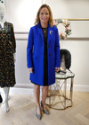 Hanita Sapphire Blue Dress Coat - Ribbon Rouge Boutiques