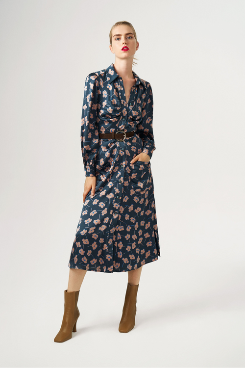 Exquise Blue/Pink Floral Long Sleeve Belted Shirt Dress