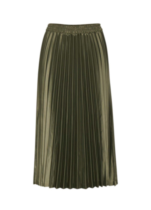 Inwear-Adhral-Womens-Pleated-Midi-Length-Skirt-In-Green-From-Back-Ribbon-Rouge