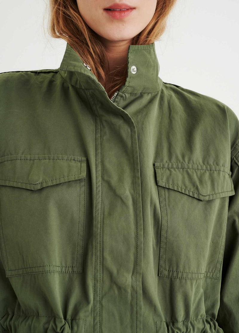 Inwear-YumalIW-Khaki-Green-Womens-Parka-Jacket-With-Utility-Pockets-closeup-ribbon-rouge