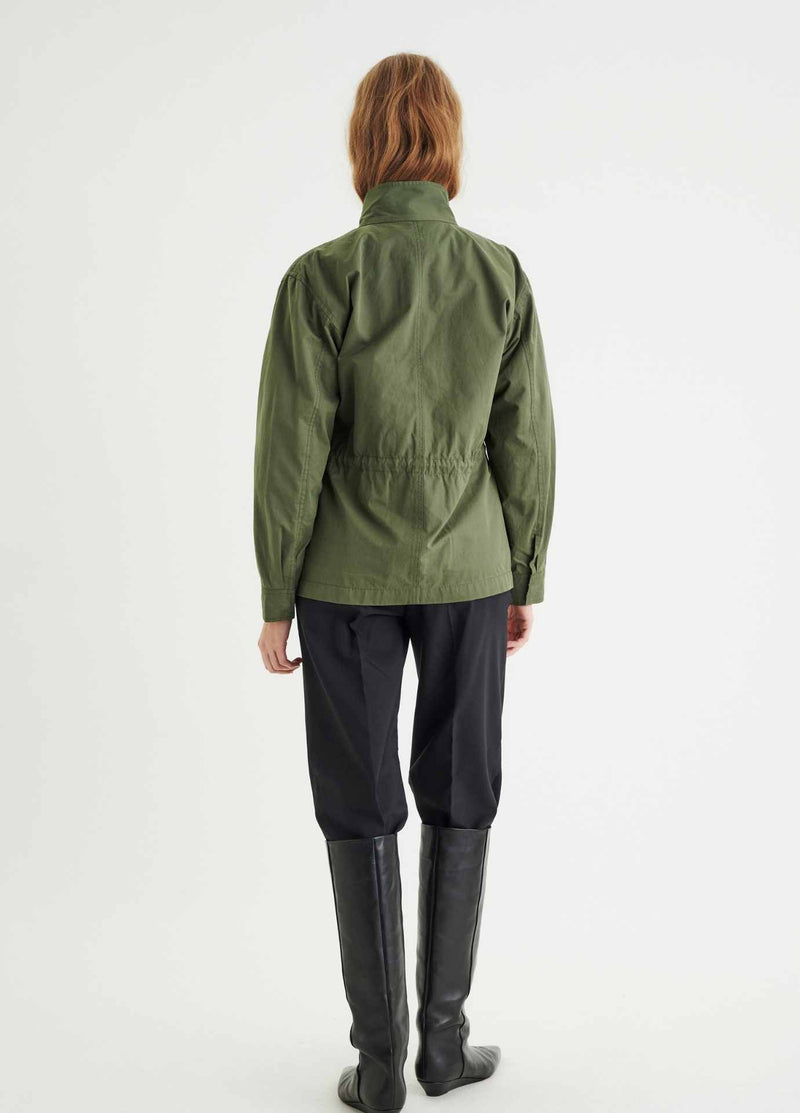 Inwear-YumalIW-Khaki-Green-Womens-Parka-Jacket-With-Utility-Pockets-from-the-back-ribbon-rouge-Ireland