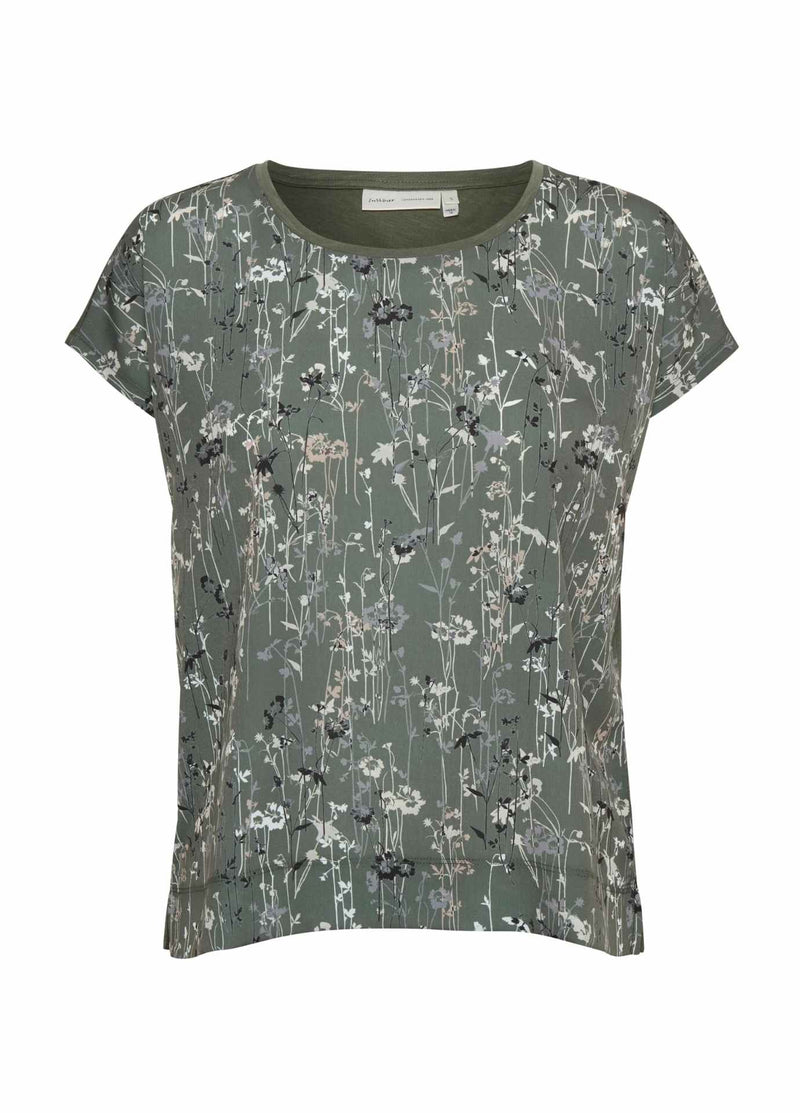 Inwear-Sicily-Khaki-Green-Floral-Print-Womens-Short-Sleeve-Top-With-Cap-Sleeves-30103135-RibbonRouge-Online