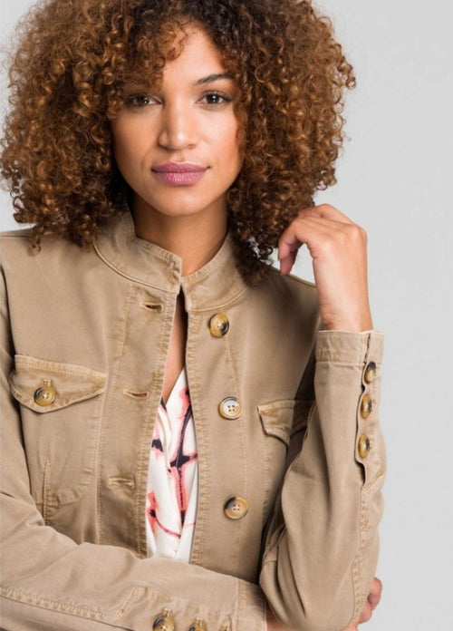 Marc-Aurel-Tan-Womens-Safari-Jacket-With-Button-Details