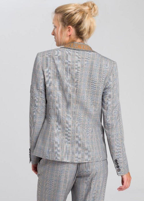 Marc Aurel Grey/Beige Check Print Womens Blazer With Fancy Attitude Badge Back