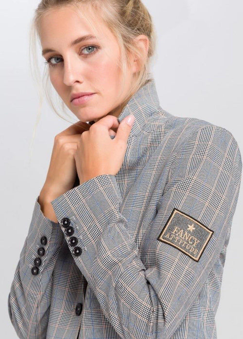 Marc Aurel Grey/Beige Check Print Womens Blazer With Fancy Attitude Badge