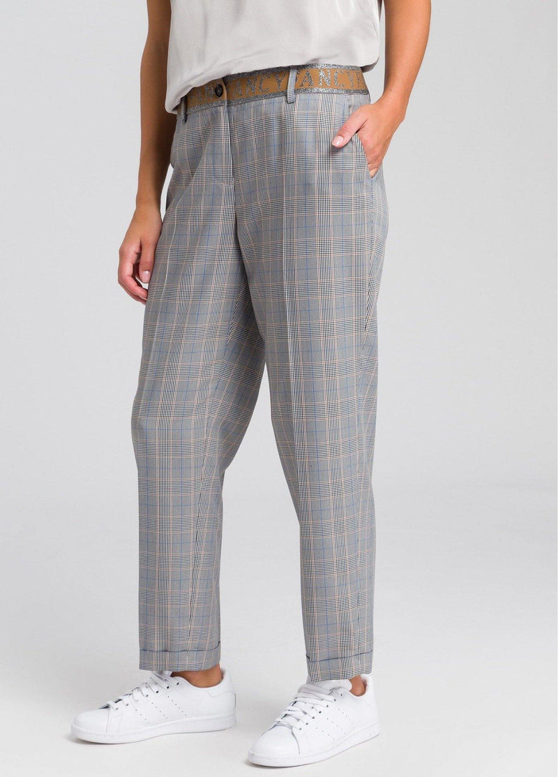 Marc Aurel Relaxed Grey/Beige Check Print Ladies Trousers