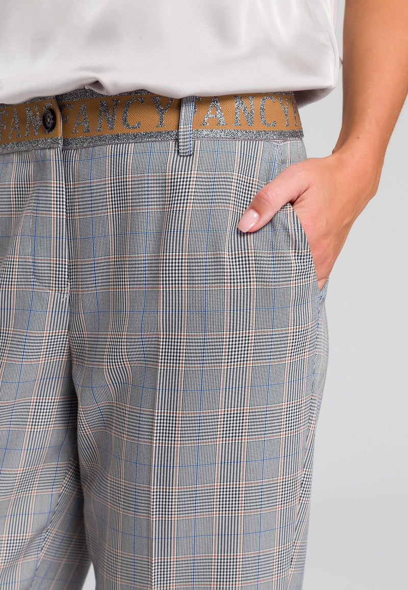 Marc Aurel Relaxed Grey/Beige Check Print Womens Trousers