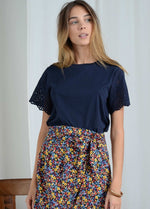 Molly-Bracken-E1384p21-Navy-Cotton-Lace-Short-Sleeve-Womens-Top