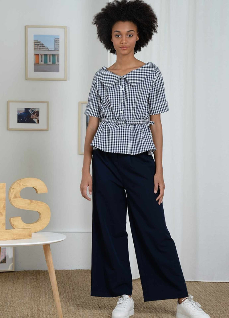Molly-Bracken-El352p21-Navy-White-Gingham-Short-Sleeve-Womens-Top-With-Belt-Outfit-Idea-ribbon-rouge
