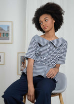 Molly-Bracken-El352p21-Navy-White-Gingham-Short-Sleeve-Womens-Top-With-Belt-ribbon-rouge-boutique