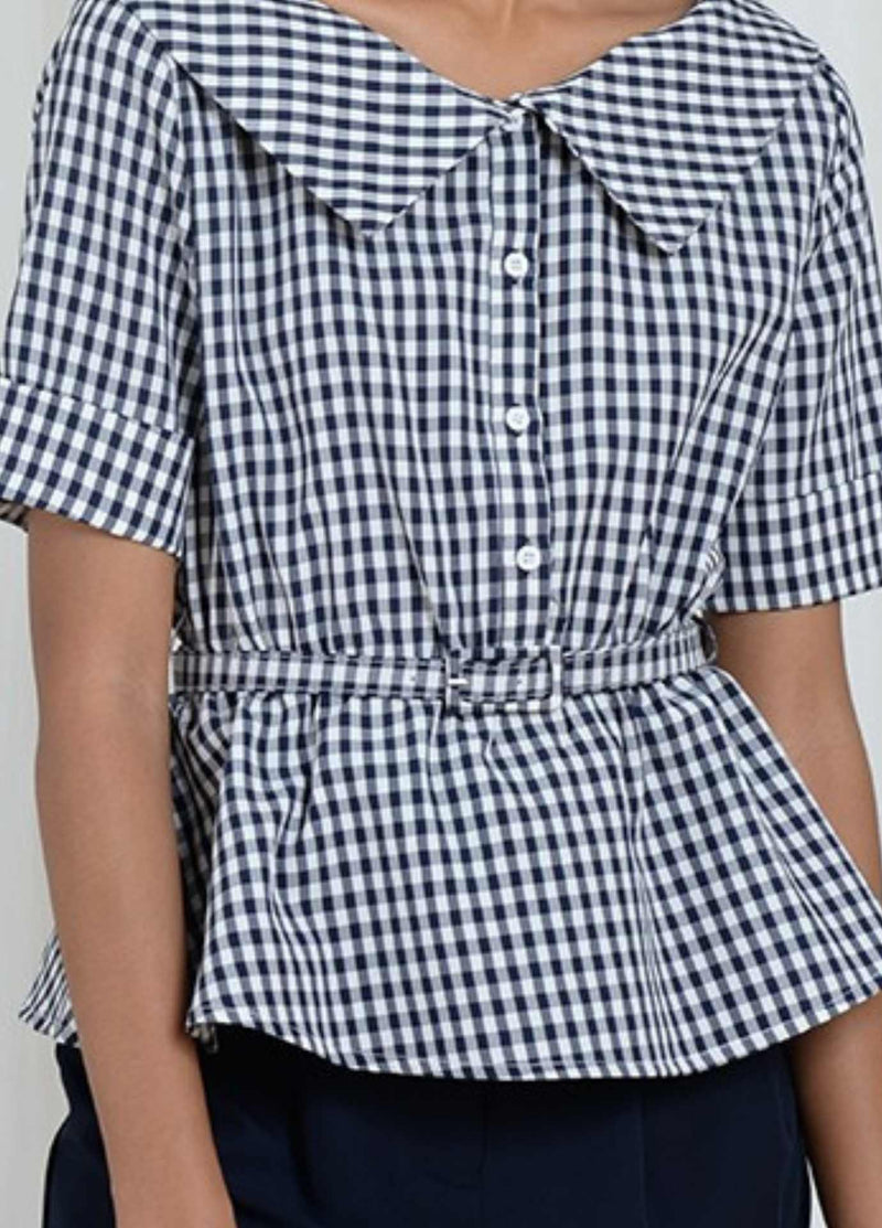 Molly-Bracken-El352p21-Navy-White-Gingham-Summer-Womens-Top-With-Short-Sleeves-Close-up