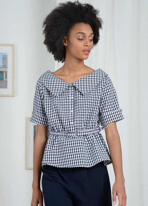 Molly-Bracken-El352p21-Navy-White-Gingham-Summer-Womens-Top-With-Short-Sleeves-ribbon-rouge