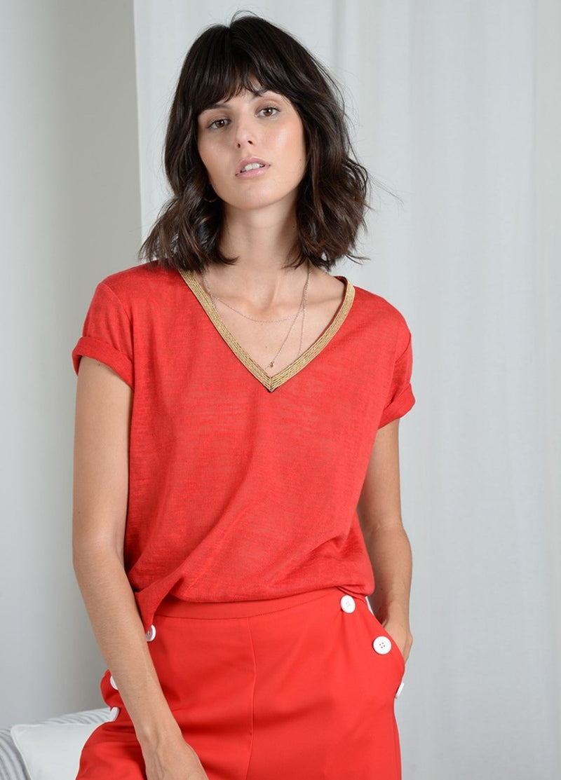 Molly Bracken Red Short Sleeve Top
