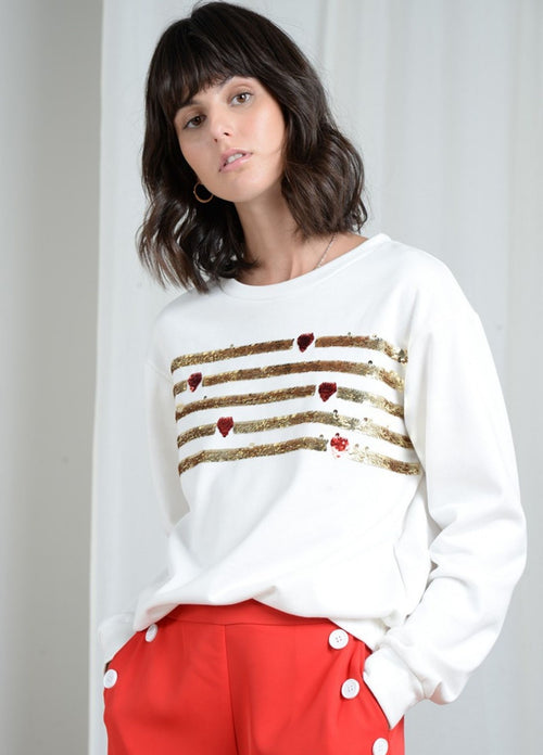 Molly-Bracken-White-Sequin-Sweater-Ribbon-Rouge-Ireland