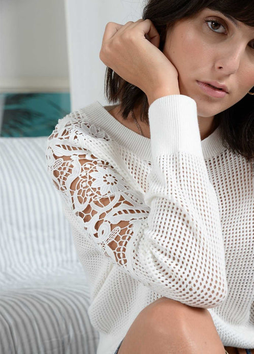 Molly-Bracken-Womens-White-Knitted-Jumper-With-Openwork-Lace-Sleeves-La693p21-Ribbon-Rouge