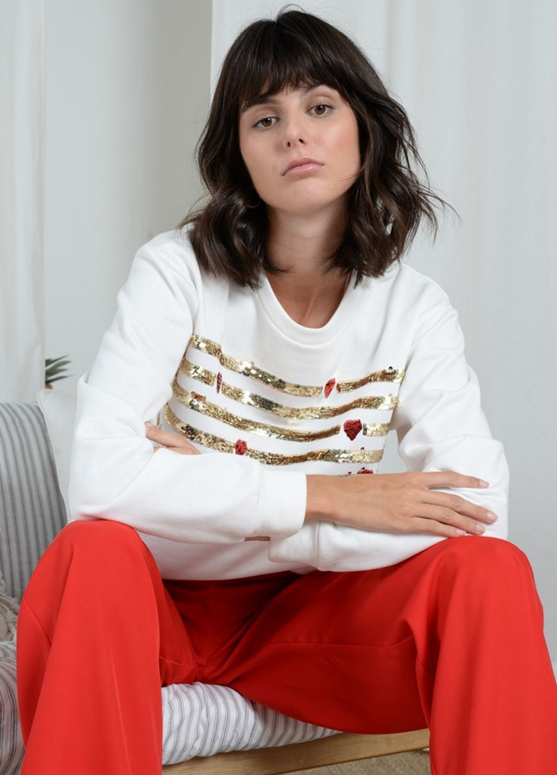 Molly-Bracken-Womens-White-Sequin-Sweater-Ribbon-Rouge-Online