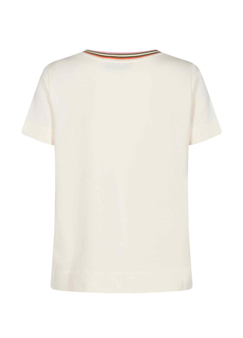 MosMosh-Troy-Marilyn-Ecru-Womens-Short-Sleeve-V-Neck-Tee-Shirt-With-Sport-Stripe-From-Back-Ribbon-Rouge-Online