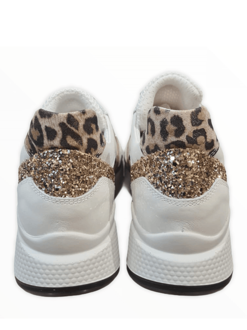 Nero-Giardini-11517D-SS21-Ladies-White-Wedge-Runner-WithGold-Glitter-And-Animal-Print-Heel-Ribbon-Rouge-Ireland