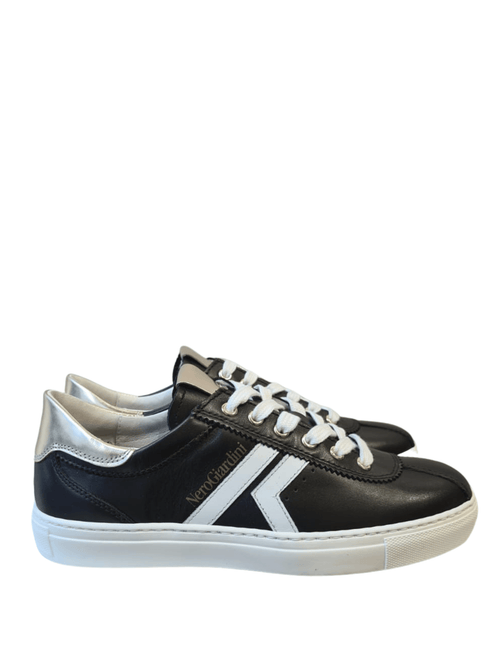 Nero-Giardini-115250D-SS21-Ladies-Silver-Black-Leather-Sport-Stripe-Trainer-Ribbon-Rouge-Ireland