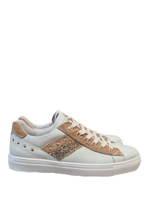 Nero-Giardini-115282D-Ladies-White-Tan-Leather-Trainers-With-Studs-Ribbon-Rouge