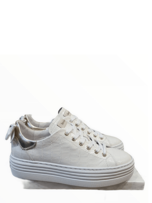 Nero-Giardini-115290D-Ladies-White-Leather-Crocodile-Effect-Trainers-With-Bow-On-Heel-Ribbon-Rouge-Ireland