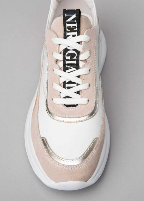 Nero-Giardini-Ireland-115201D-Womens-White-Leather-Chunky-Sole-Trainers-With-Beige-Details