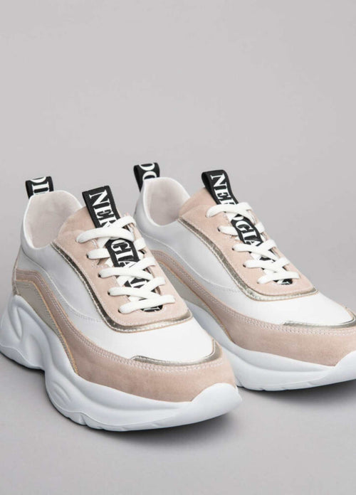 Nero-Giardini-Ireland-115201D-Womens-White-Leather-Chunky-Sole-Runners-With-Beige-Suede