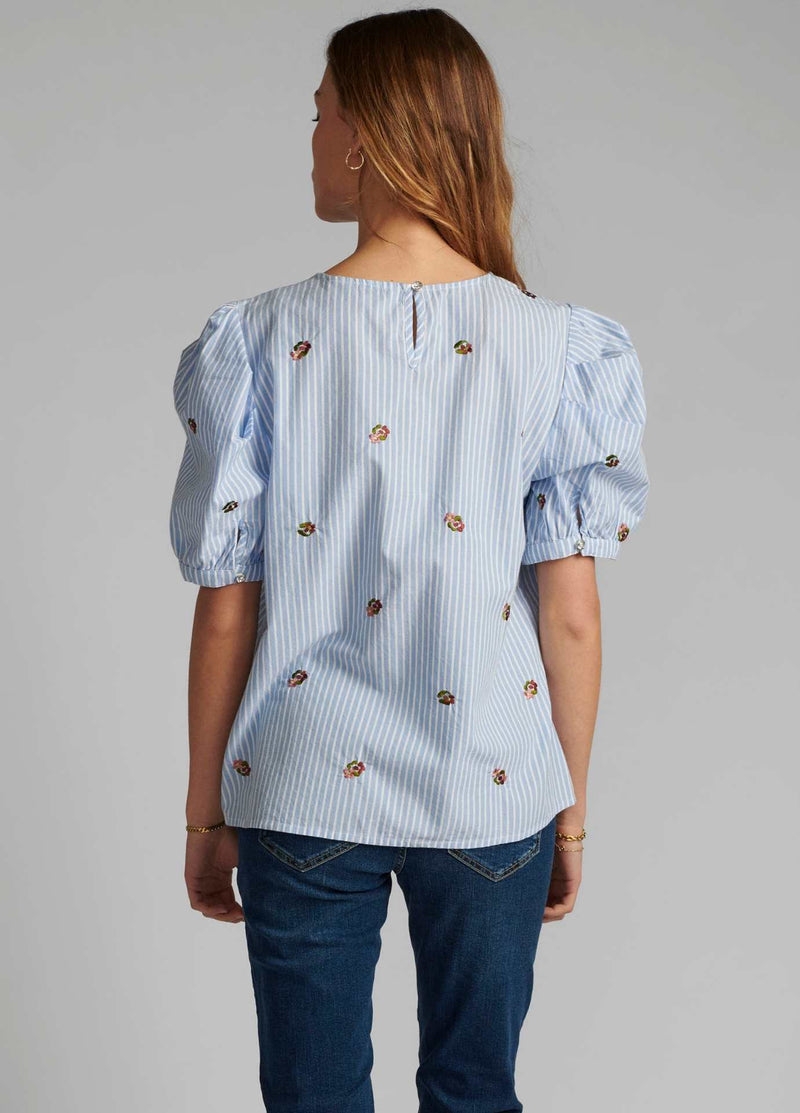 Numph-700133-Blue-And-White-Womens-casual-Stripe-Top-With-Short-Puff-Sleeves-From-Back