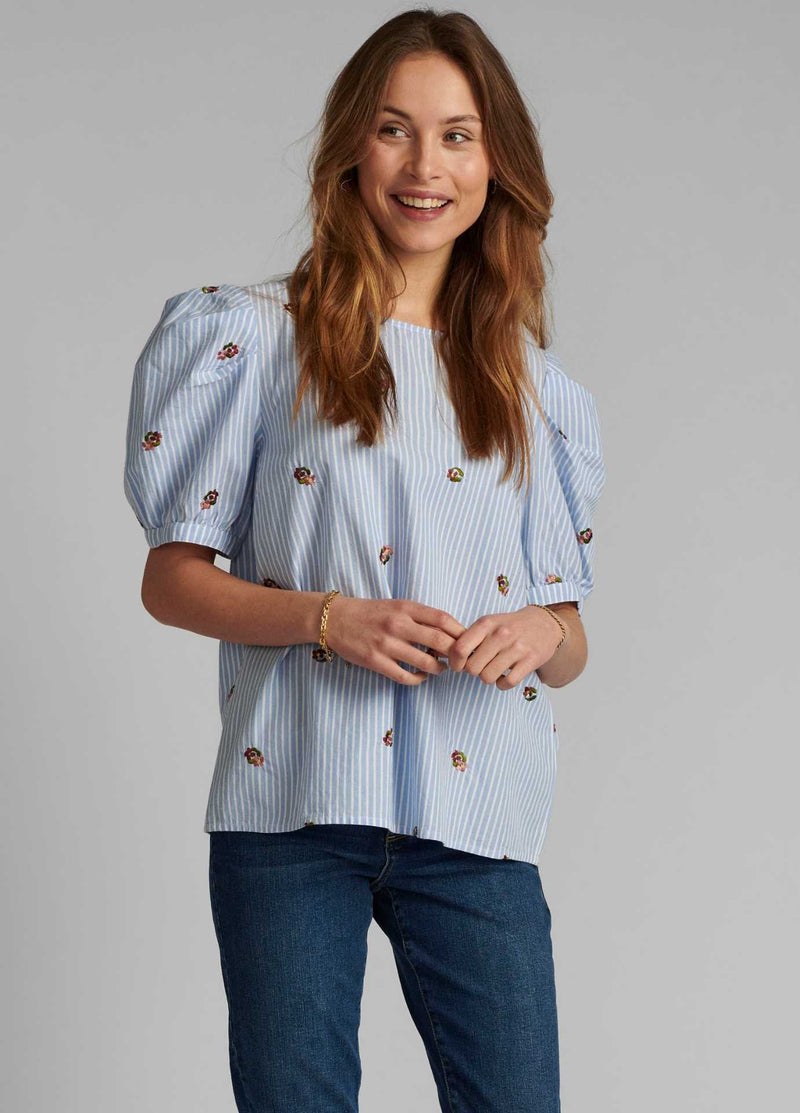Numph-700133-Womens-Blue-And-White-Stripe-Top-With-Short-Puff-Sleeves