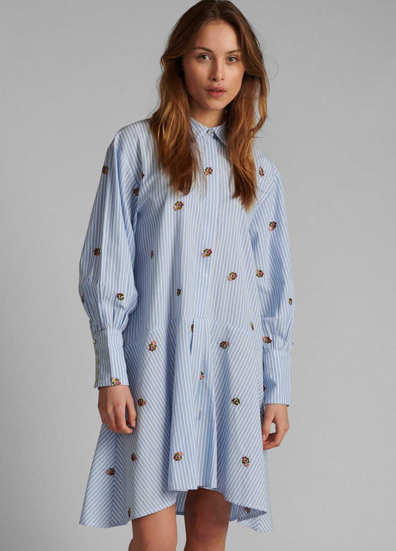 Numph-700134-Blue-And-White-Stripe-Womens-Casual-Shirt-Dress-With-Long-Sleeves