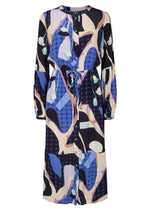 Numph-700353-Nucasey-Blue-And-Beige-Womens-Casual-Long-Length-Dress-