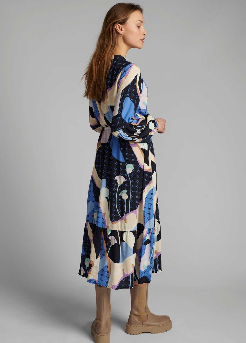 Numph-700353-Nucasey-Blue-Print-Everyday-Long-Womens-Dress-Back