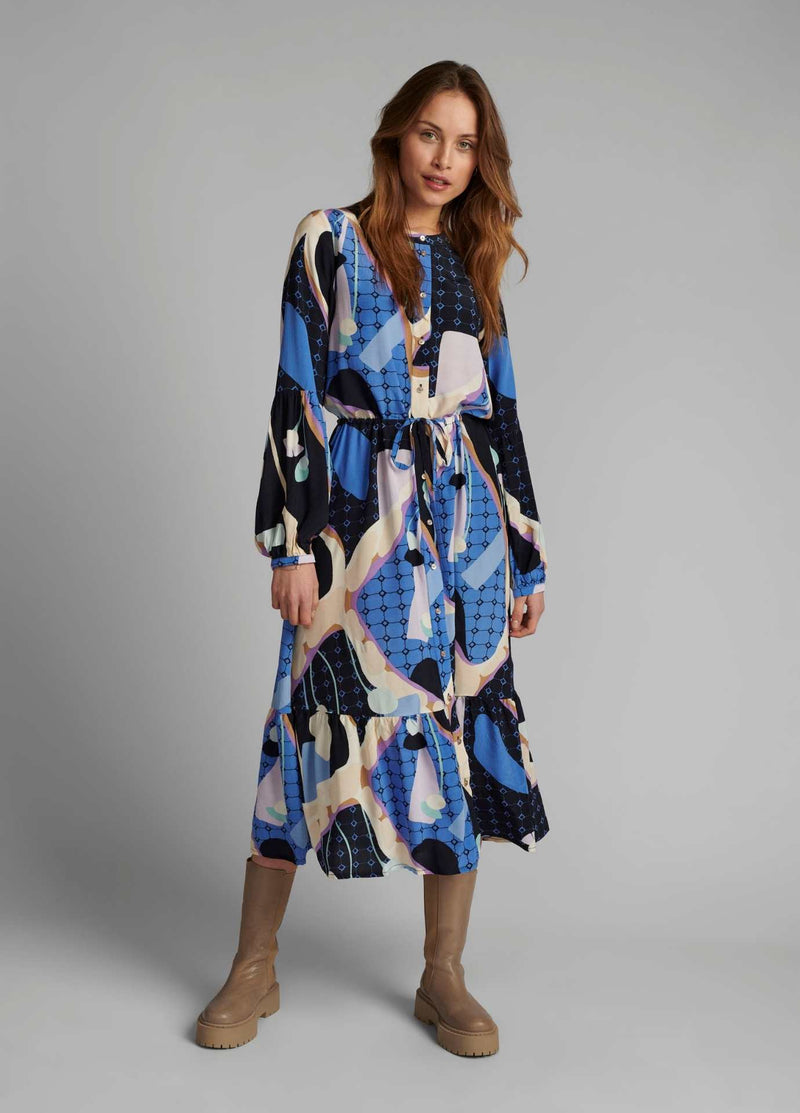 Numph-700353-Nucasey-Blue-Print-Everyday-Long-Womens-Dress