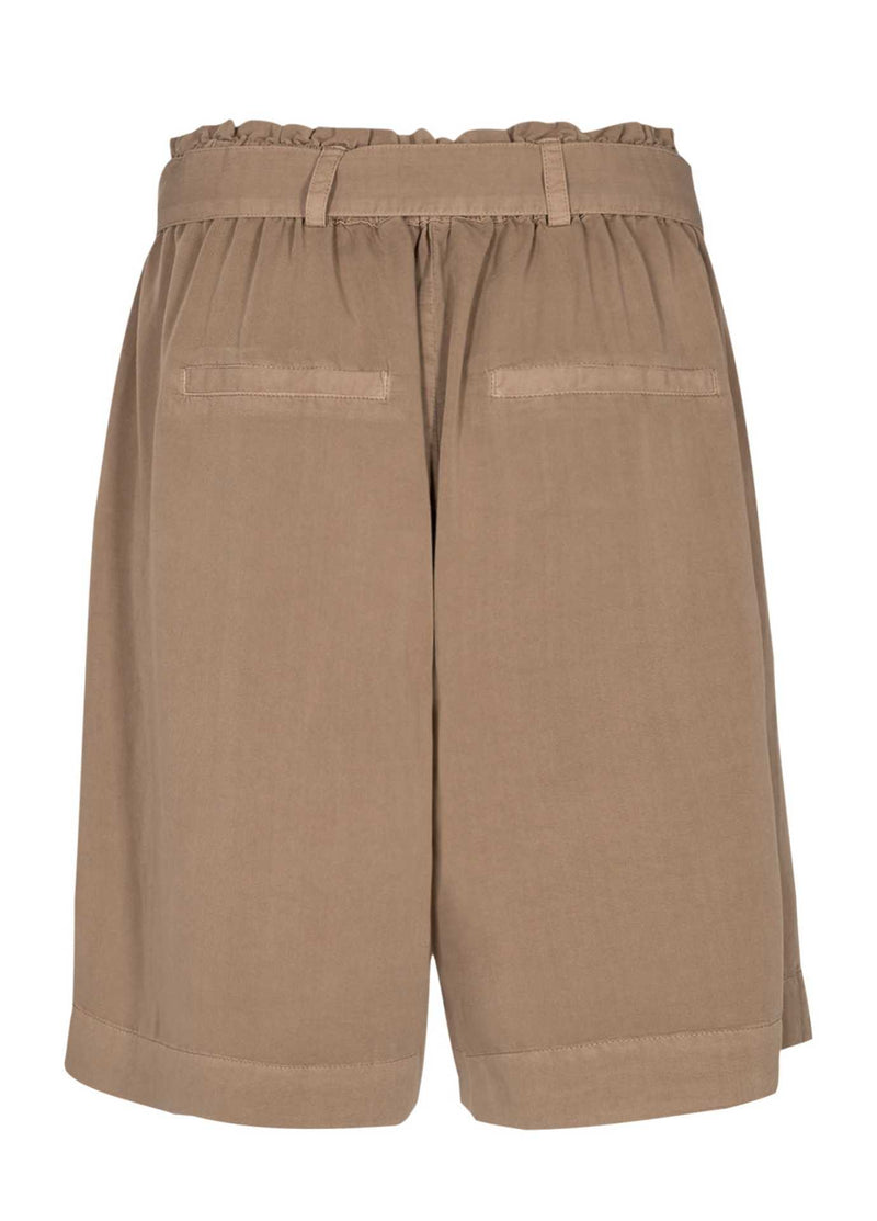 Numph-700414-Nucasilda-Tan-Brown-Womens-Long-Paper-Bag-Shorts-From-Back
