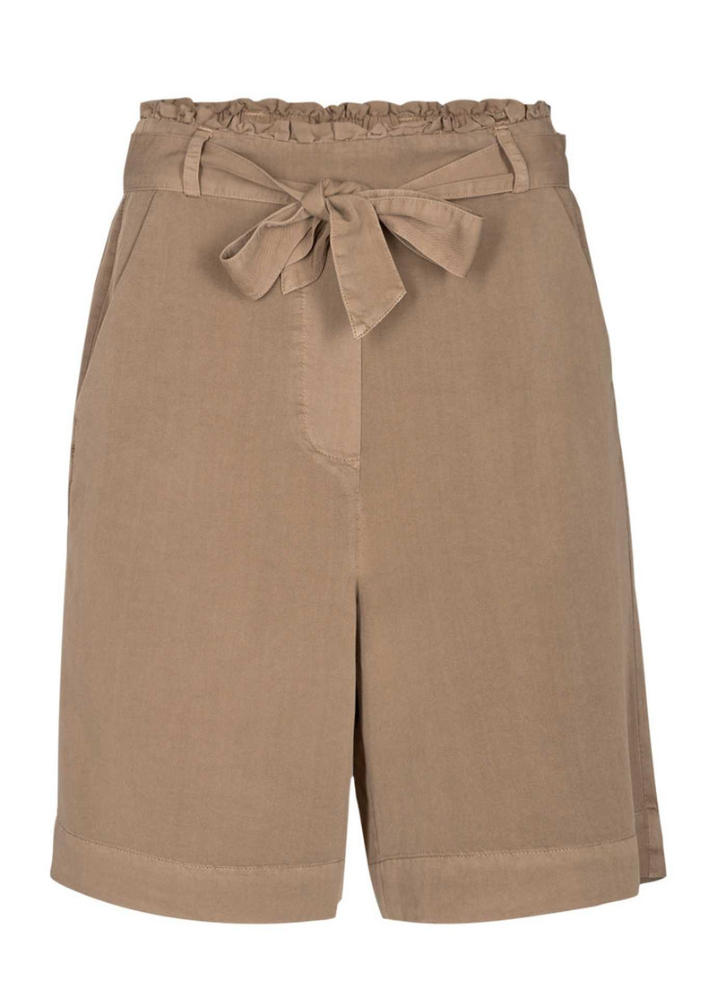 Numph-700414-Nucasilda-Tan-Brown-Womens-Long-Paper-Bag-Shorts-With-Tie-Belt