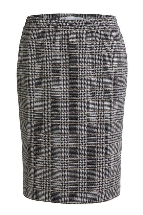 Oui Knee Length Check Print Skirt - Ribbon Rouge Boutiques