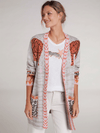 Oui-72071-Cream-And-Orange-Tiger-Print-Ladies-Cardigan-Ribbon-Rouge-Online_