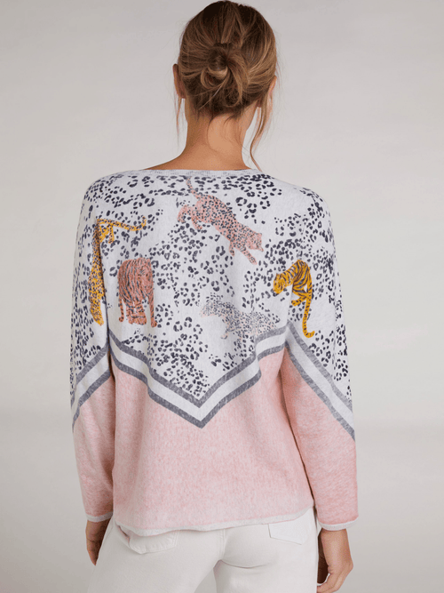Oui Relaxed Fit Pink & Cream Tiger Print Jumper