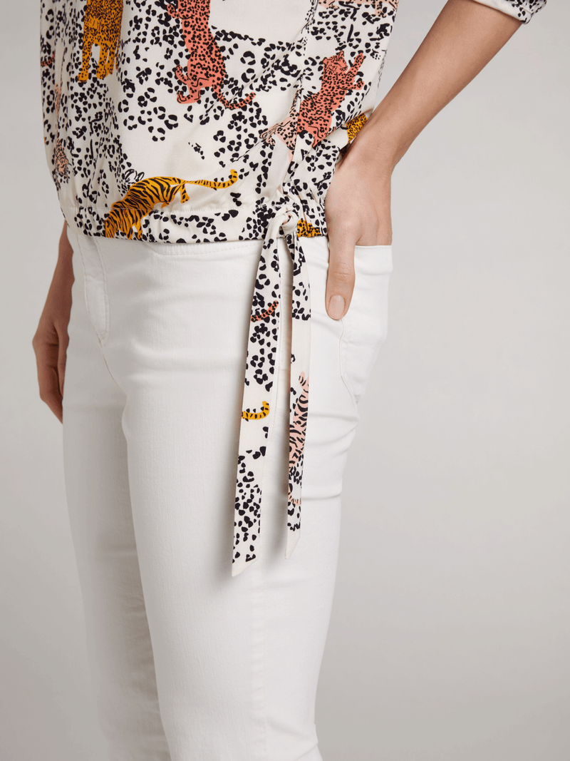 Oui-72173-Cream-Leopard-And-Tiger-Print-Ladies-Blouse-Tie-Detail-On-Side-Ribbon-Rouge
