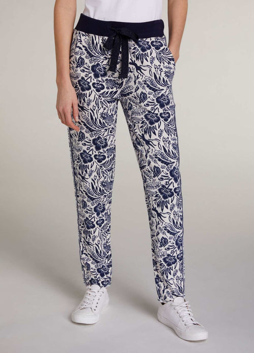 Oui-72361_0105-Oui-Blue-Tropical-Floral-Print-Womens-Designer-Casual-Joggers