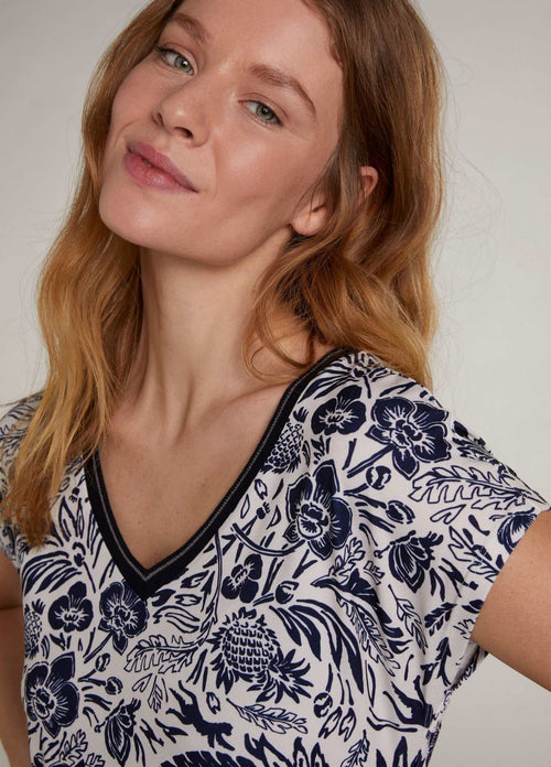 Oui-72457-White-And-Navy-Womens-Tropical-Floral-Print-Dress-With-V-Neck