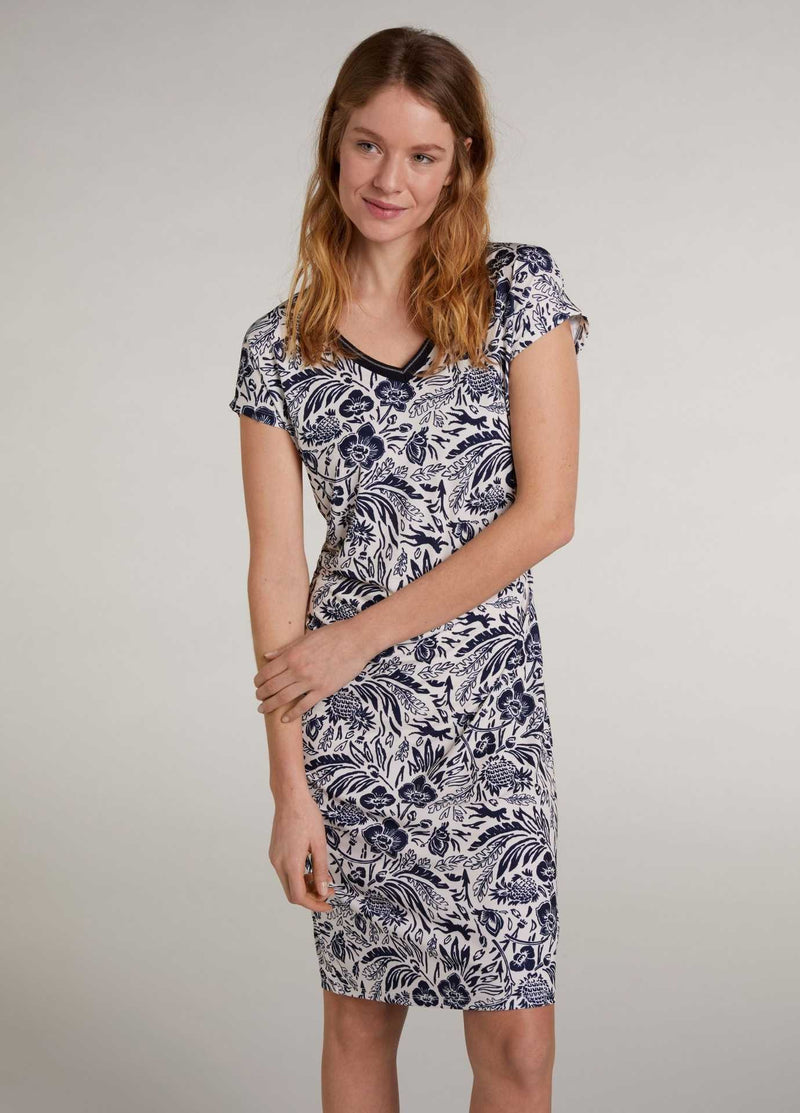 Oui Navy Tropical Print Mid-Length Dress