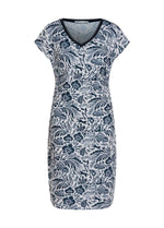 Oui-72457-White-And-Navy-Womens-Tropical-Floral-Print-V-Neck-Summer-Dress