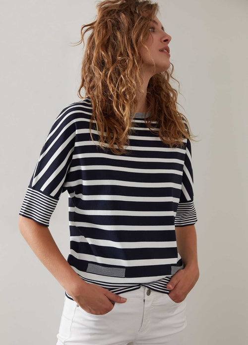 Oui 72479 Nautical White And Navy Stripe Womens Summer 3/4 Sleeve Top