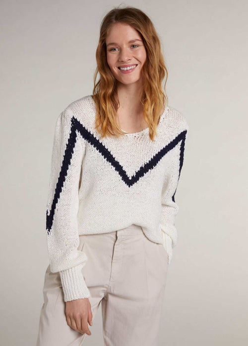 Oui-72484-White-And-Navy-Ribbed-Knit-Summer-Ladies-V-Neck-Jumper