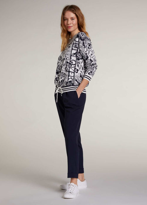 Oui Navy Relaxed Fit Womens Everyday Trousers