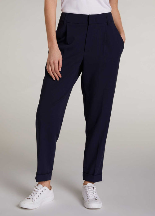 Oui-72712-Navy-Relaxed-Fit-Womens-Trousers