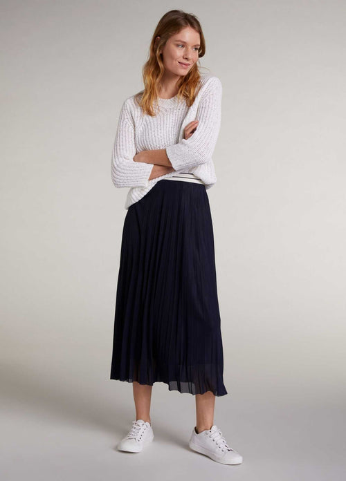 Oui 72828 Dark Navy Womens Pleated Midi length Skirt